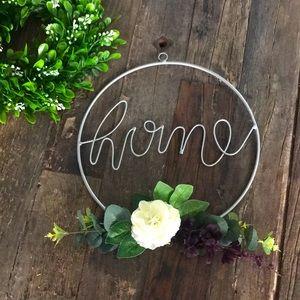 METAL farmhouse wreath w/ floral spray - NEW